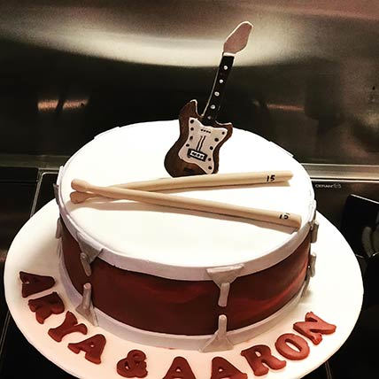 Drums and Guitar Theme Red Velvet Cake 6 inches Eggless