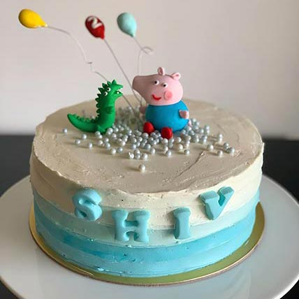 George and Dino Peppa Pig Vanilla Cake 8 inches Eggless