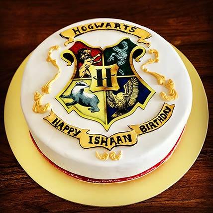 Harry Potter Hogwats Red Velvet Cake 6 inches Eggless
