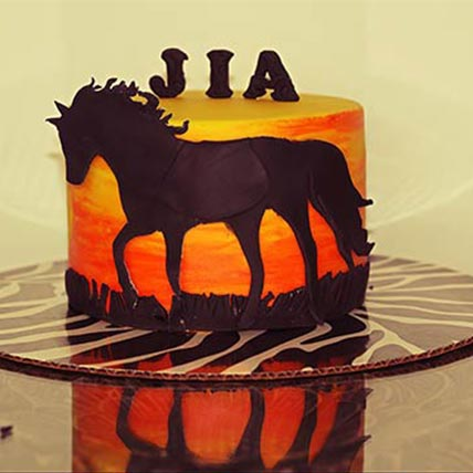 Horse Theme Lemon Cake 9 inches Eggless