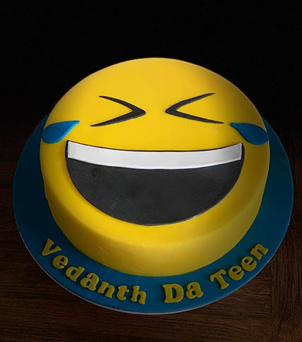 Laughing Emoji Red Velvet Cake 9 inches Eggless
