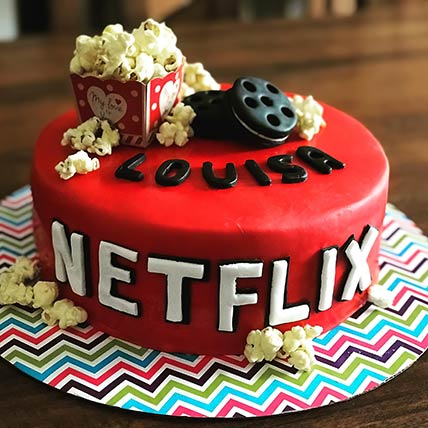 Netflix Themed Vanilla Cake 8 inches Eggless