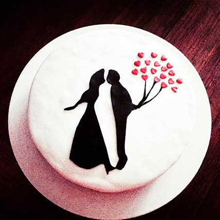 Romantic Couple Lemon Cake 6 inches Eggless