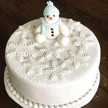 Snowman Chocolate Cake 6 inches Eggless