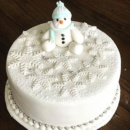 Snowman Vanilla Cake 8 inches Eggless
