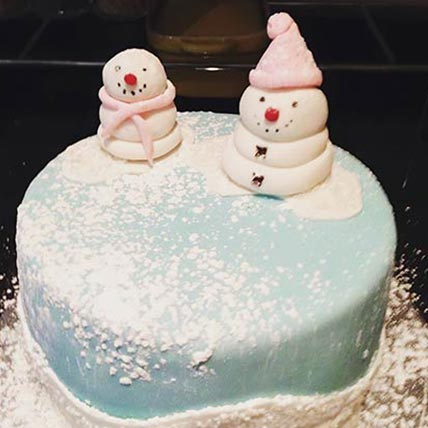 Snowman Winter Vanilla Cake 8 inches Eggless