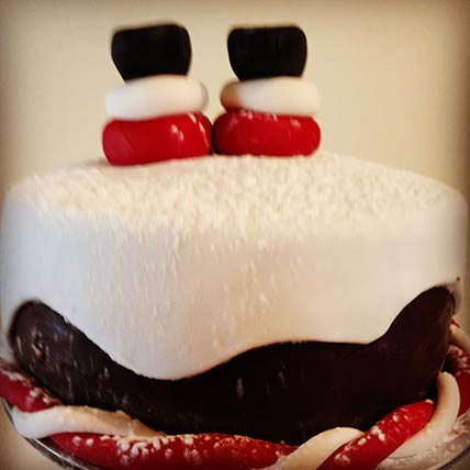 Snowy Santa Vanilla Cake 8 inches Eggless