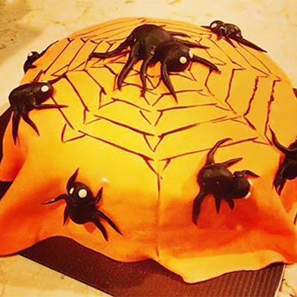 Spiders Web Theme Lemon Cake 6 inches Eggless