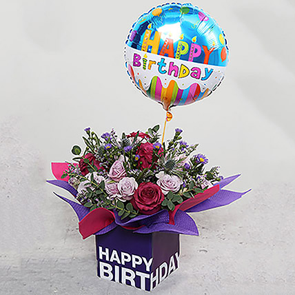 Birthday Flower Arrangement with Balloon