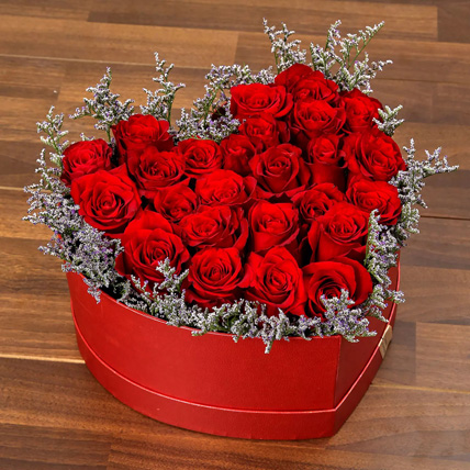 25 Red Roses Heart Shaped Box
