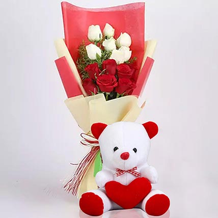 Red and White Roses Bouquet with Teddy Bear
