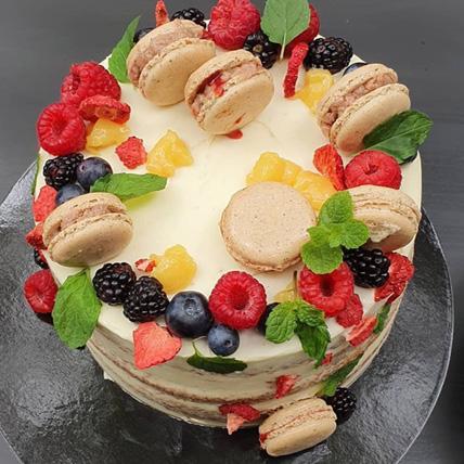 Macaron Decor Vanilla Cake