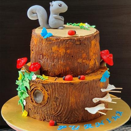 Squirrel Cartoon Vanill Cake