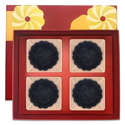 Dark Nibs Truffle Yolk Mooncakes- 4 Pcs