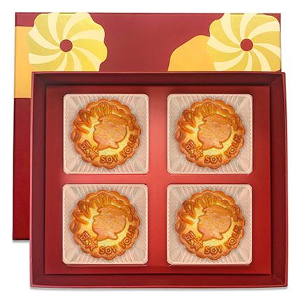 Soy Yolk Bake Skin Mooncakes- 4 Pcs