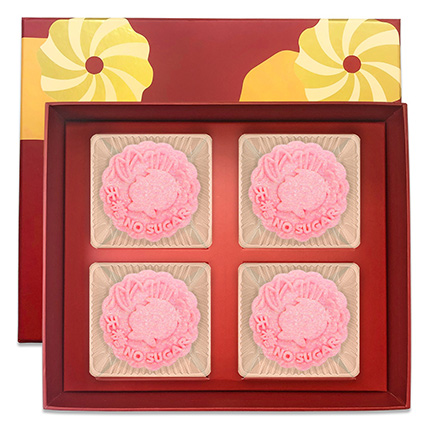 Strawberry Chia Truffle Yolk Mooncakes- 4 Pcs