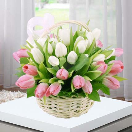 Online Pink White Tulips Basket Gift Delivery In Singapore Ferns N Petals