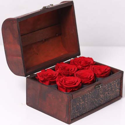 Forever Red Roses In Wooden Box