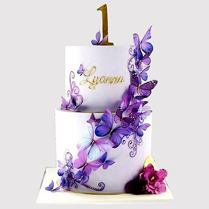 2 Tier Butterfly Black Forest Cake