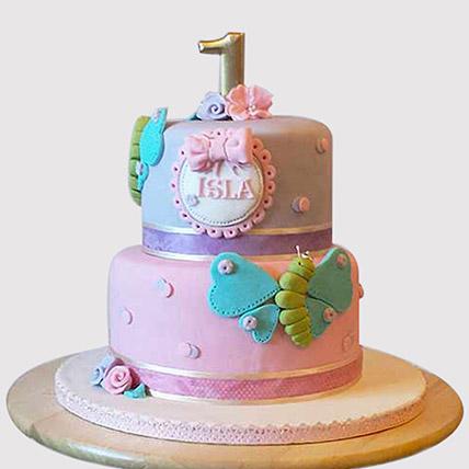 Beautiful 2 Tier Butterfly Butterscotch Cake