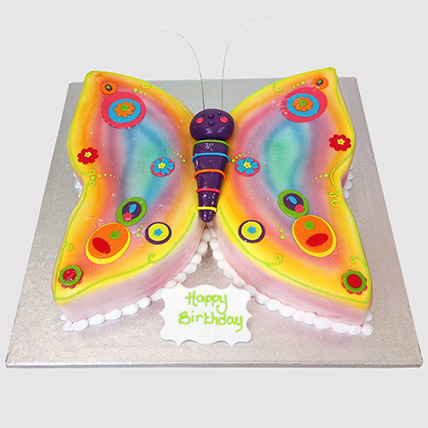 Colouful Butterfly Butterscotch Cake