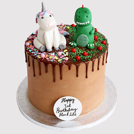 Dinosaur and Unicorn Black Forest Cake