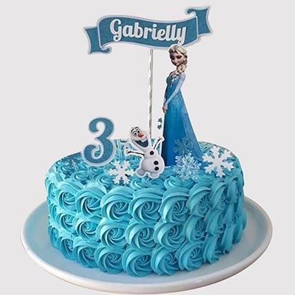 Elsa and Olaf Theme Butterscotch Cake