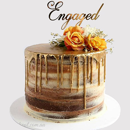 Floral Engagement Truffle Cake