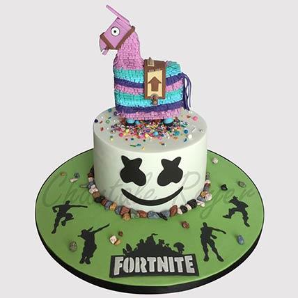 Fortnite Unircorn Fondant Black Forest Cake