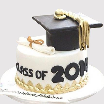 Graduation Party Fondant Butterscotch Cake