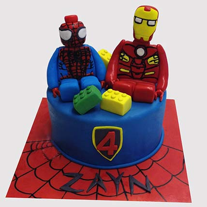 Iron Man and Spiderman Black Forest Cake