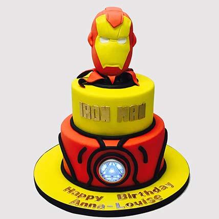 Iron Man Fondant Theme Butterscotch Cake