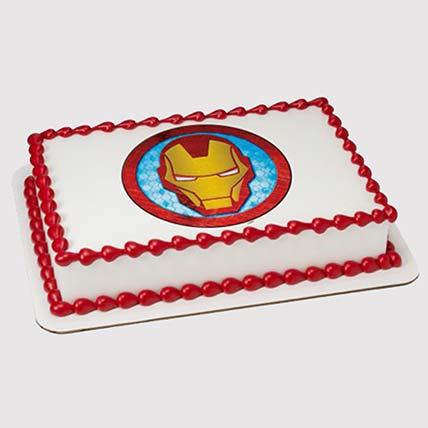 Iron Man Logo Black Forest Photo Cake