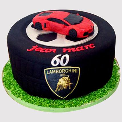 Lamborghini Themed Butterscotch Cake