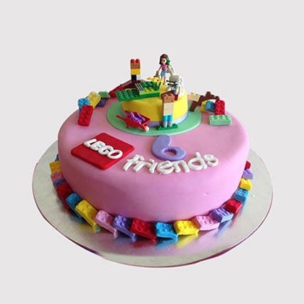 Lego Friends Themed Truffle Cake