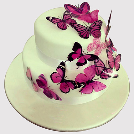 Pink Butterfly 2 Tier Black Forest Cake