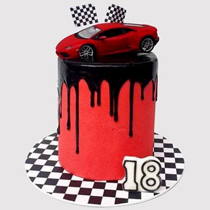 Race Car Black Forest Cake