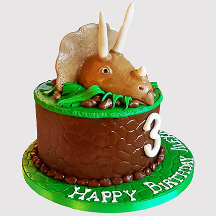Triceratops Dinosaur Butterscotch Cake