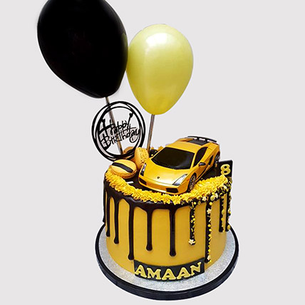 Yellow Car Black Forest Cake