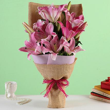 Oriental Pink Lilies Bunch