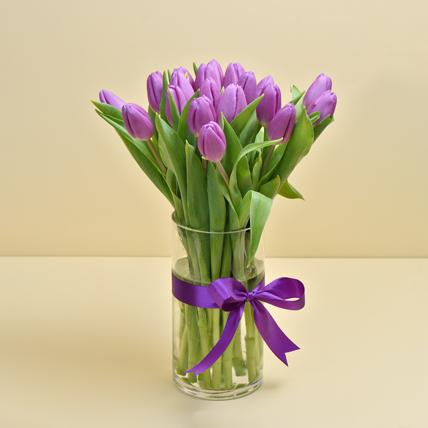 10 Purple Tulip Arrangement