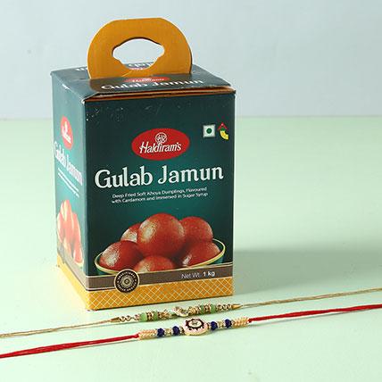 Yummy Gulab Jamun And Designer Rakhi Combo
