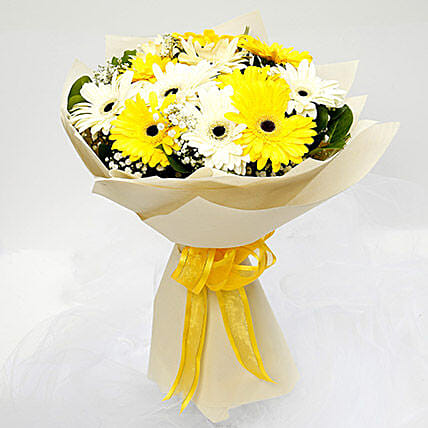 Blooming White And Yellow Gerberas Bouquet