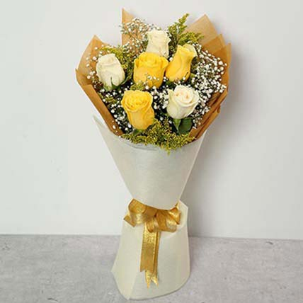 Blooming White And Yellow Roses Bouquet