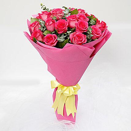 Vivacious 20 Dark Pink Roses Bouquet