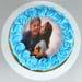 Blue Roses Photo Chocolate Cake