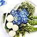 Azure Hydrangea and Button Mums Mix Bouquet
