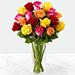 Vase Of 12 Vivid Roses