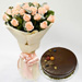 20 Peach Love Roses With Chocolate Cake Combo