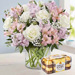 Pink And White Floral Bunch With 16 Ferrero Rocher